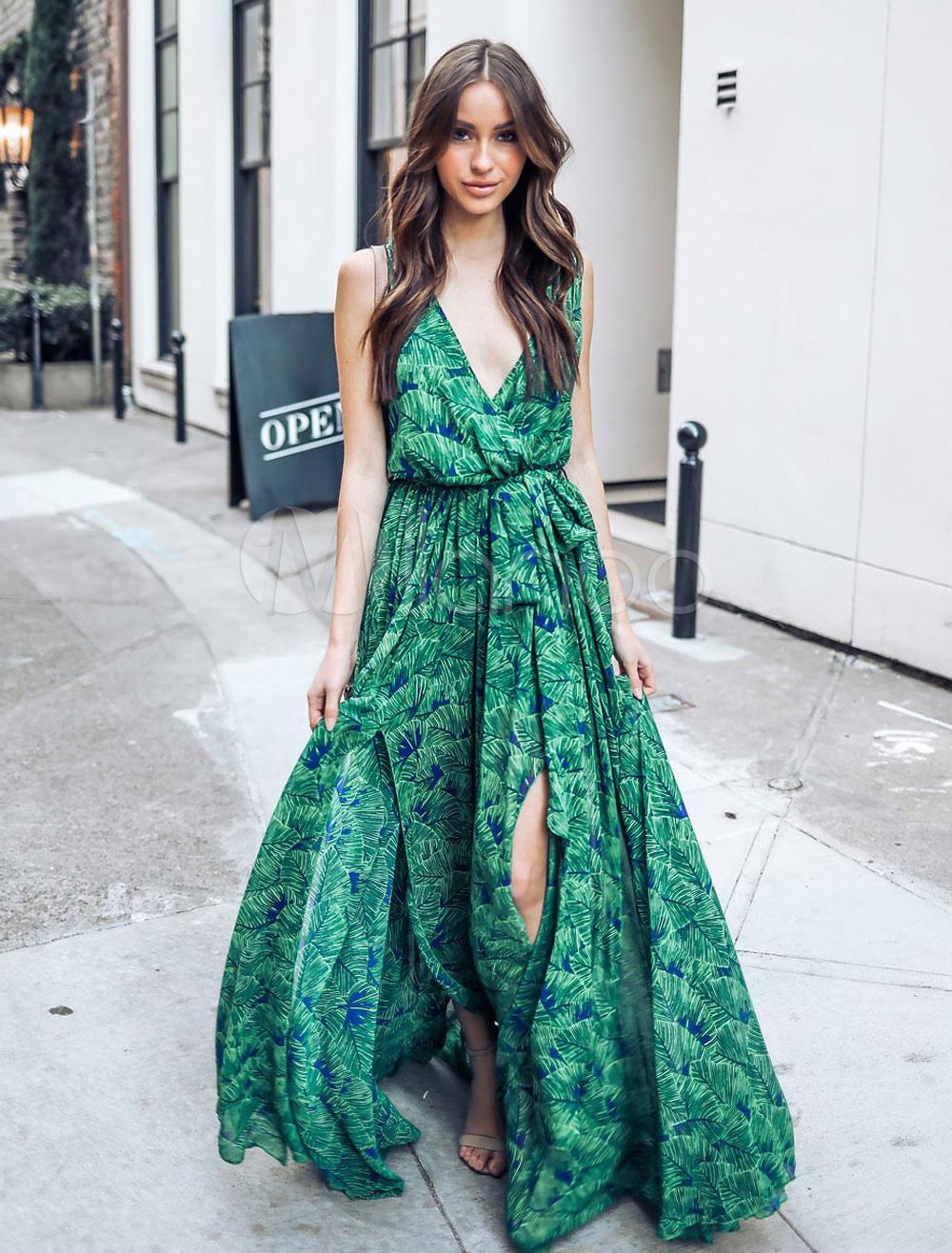 0a4882424a2b1 Chiffon Long Dress Sleeveless V Neck Summer Dress Split Leaf Print ...