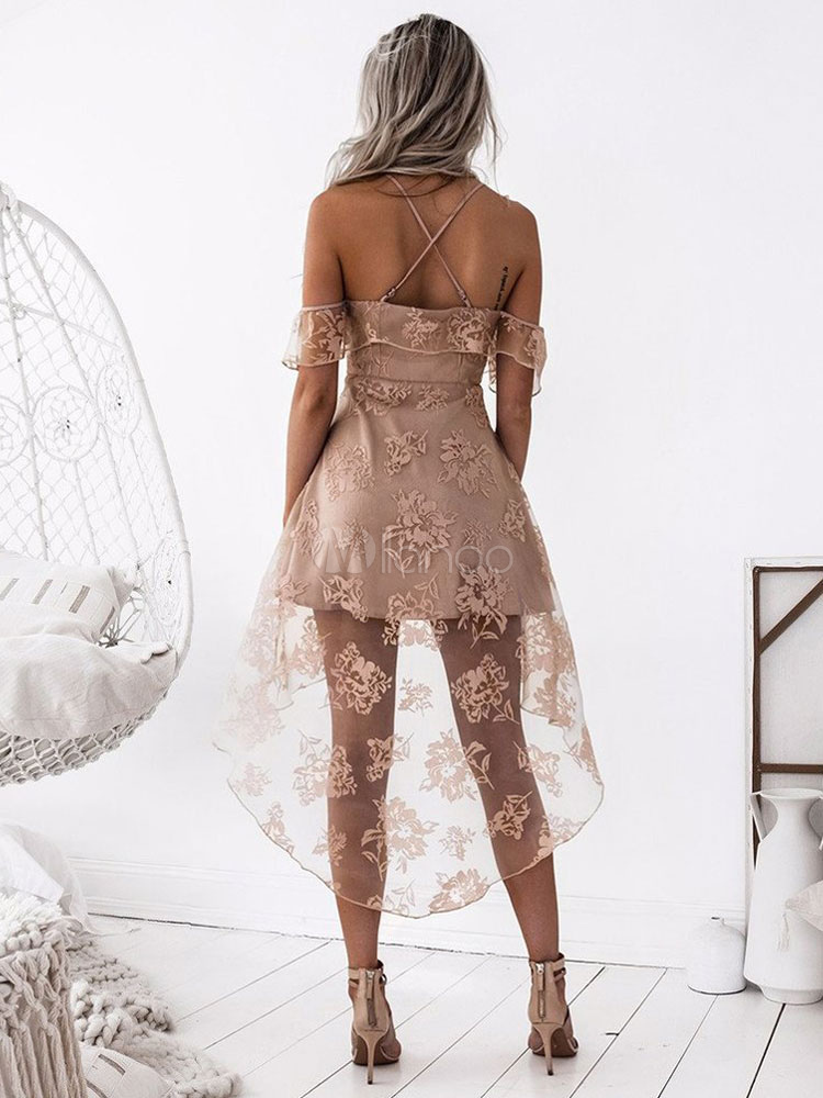 56fe6a53de3 ... Lace Skater Dress Spaghetti Straps High Low Apricot Women Sexy Summer  Dress-No.3