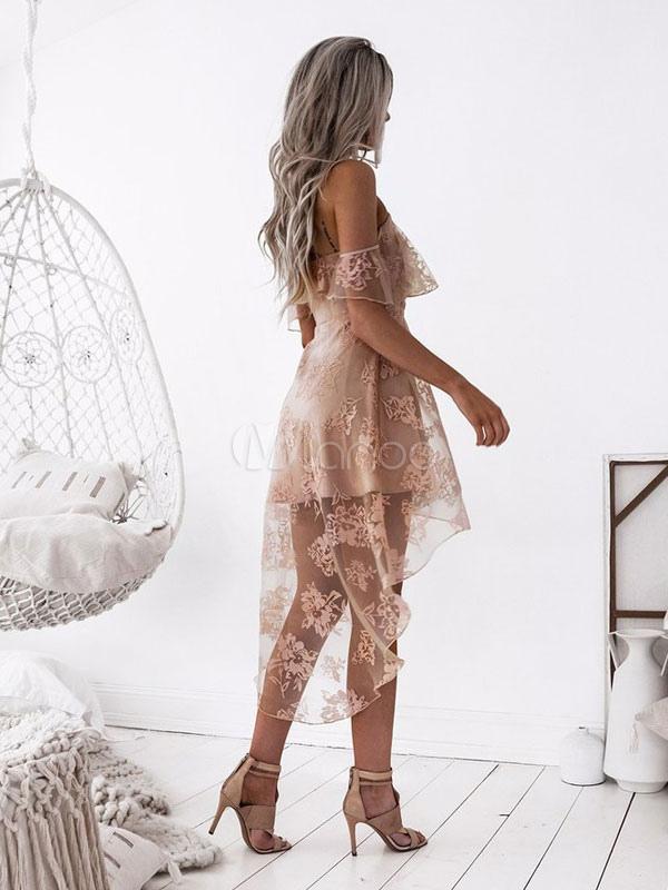 b614ef22f82 ... Lace Skater Dress Spaghetti Straps High Low Apricot Women Sexy Summer  Dress-No.2 ...