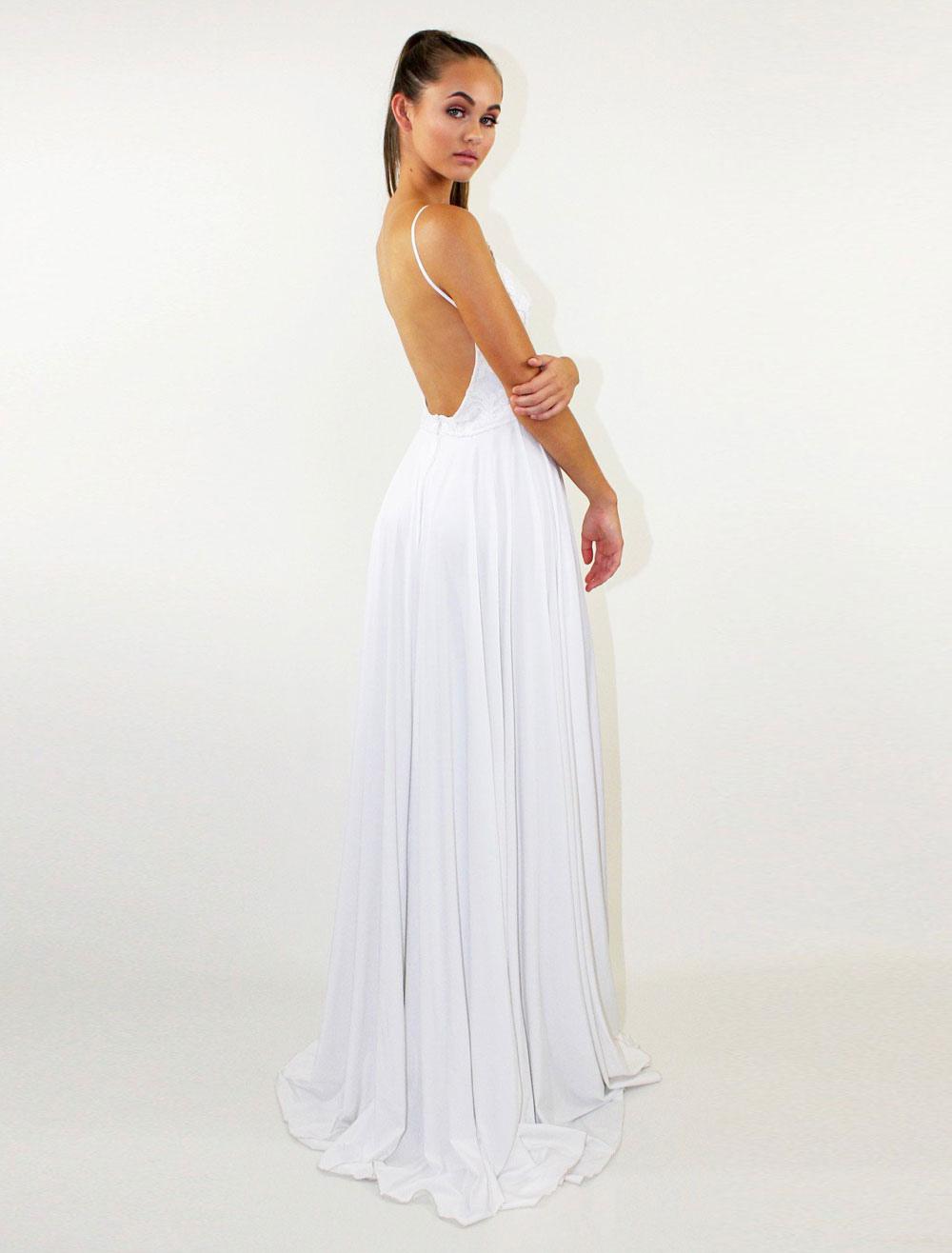 b492e9b08ce ... Robe longue blanc en polyester unicolore à dos décolleté fendu et  bretelles -No.4 ...