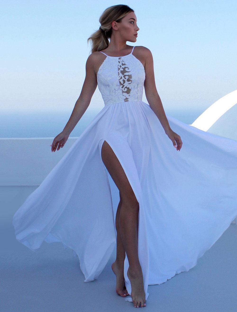 Vestidos Largos Sin Espalda Blanco Para Mujeres 2019 Correas Vestidos De Verano Vestidos Largos De Fiesta