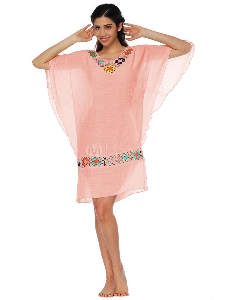 b571f7d4809 ... Magnétique robe droite de plage en coton mélangé avec crochet col V-No.2  ...