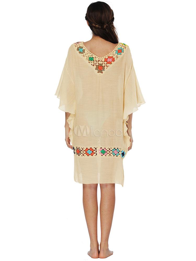6015f5ee840 ... Magnétique robe droite de plage en coton mélangé avec crochet col V-No.5