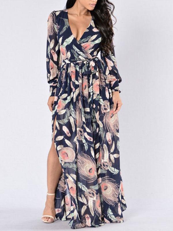01f82de20 فستان ماكسي طويل بياقة V مزين بفتحة في الظهر فستان سهرة طويل باللون الأسود  الساحر- ...