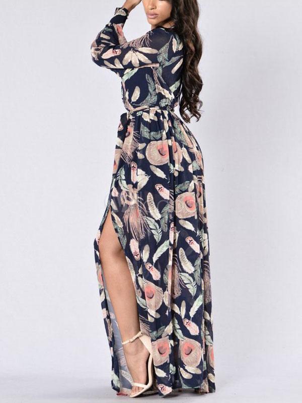 05236175e ... فستان ماكسي طويل بياقة V مزين بفتحة في الظهر فستان سهرة طويل باللون  الأسود الساحر- ...