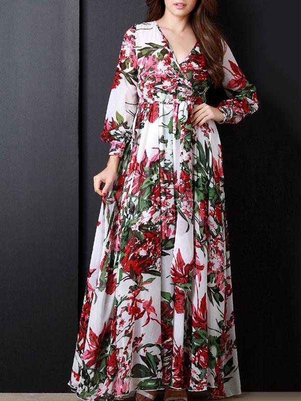 65774f1e03 Vestido largo de gasa estampado floral con cuello en V manga larga de gasa- No ...