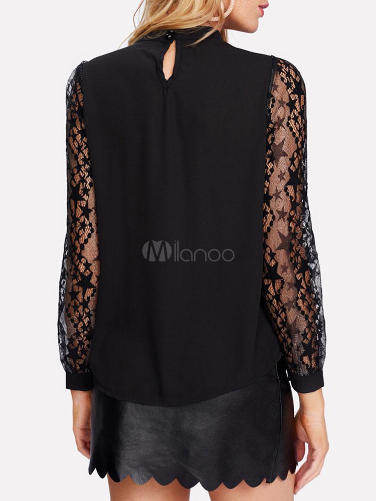 d446b00f5 ... Blusas negras para mujer con cuello redondo de manga larga Top  Casual-No.4