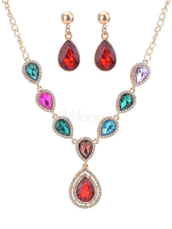 Evening Jewelry Pendant Statement Necklace With Drop Earrings