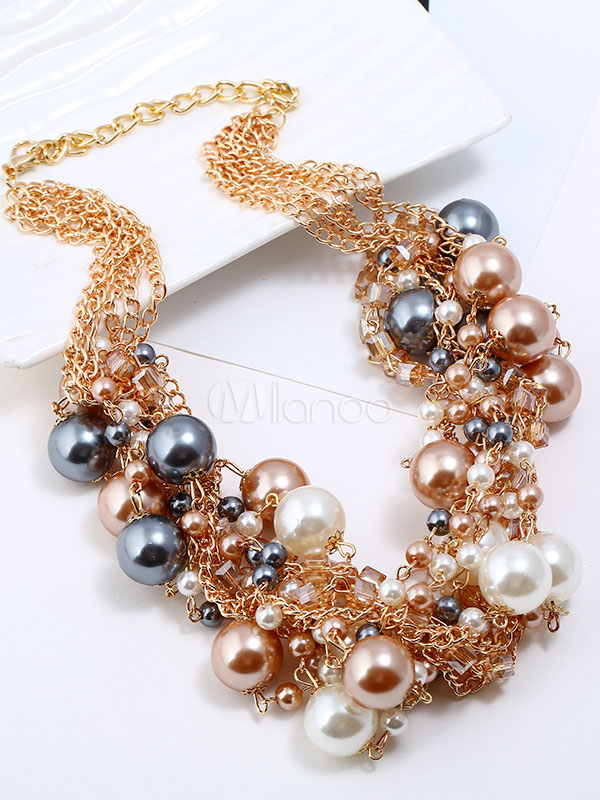 Pearl Statement Necklace Set Gold Vintage Luxury Dangle Earrings