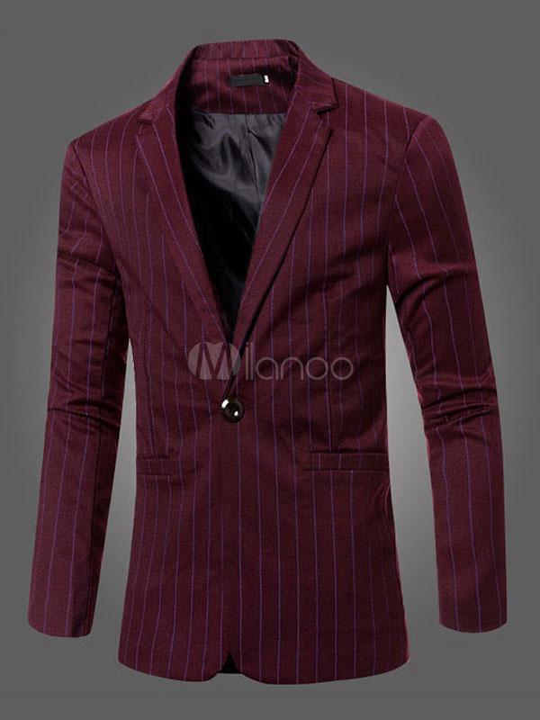 Burgundy Men Blazer Stripe Suit Jacket One Button Long Sleeve Casual Blazer