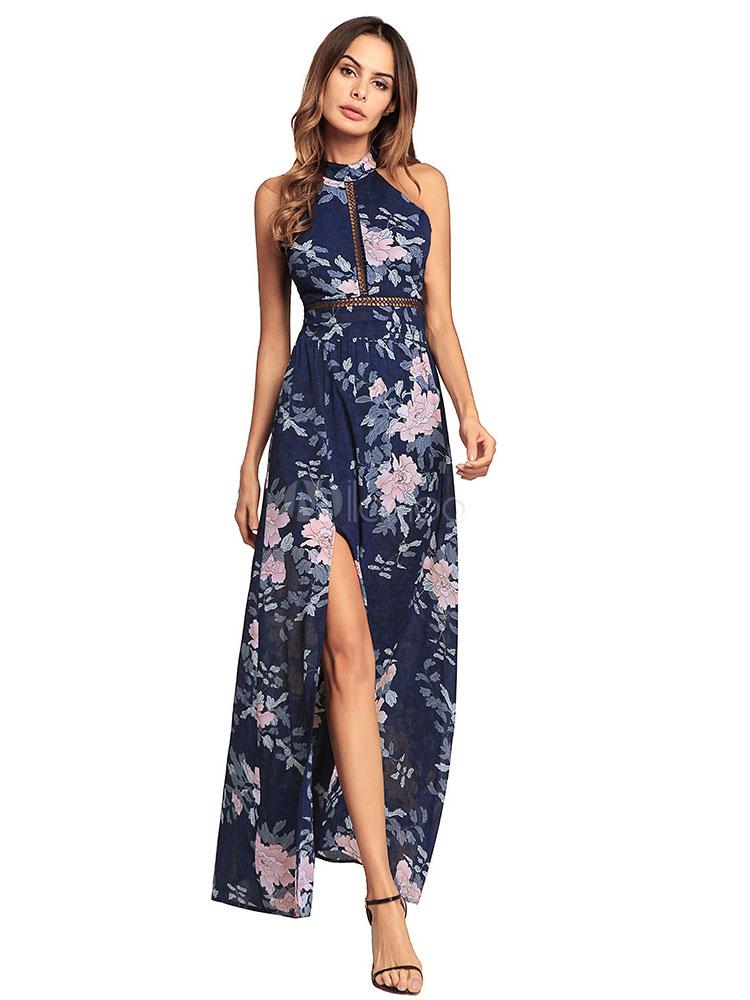 09eedb6882f5 Floral Long Dress Women Chiffon Maxi Dress Backless Split Soft Pink Summer  Dress-No.