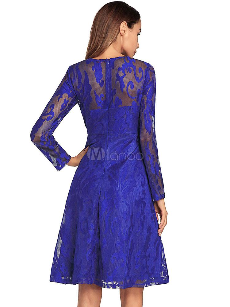 Vestido skater azul cielo manga larga cuello redondo Royal Blue Mini ...