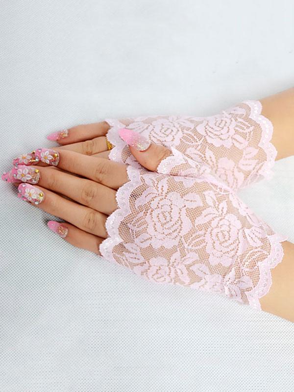 Lace Wedding Gloves Black Summer Short Bridal Gloves