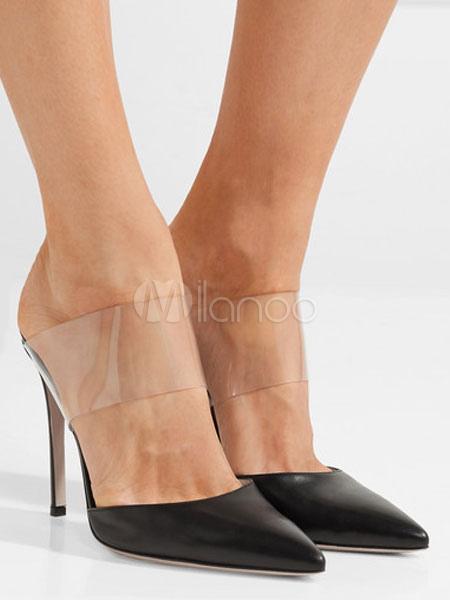 High Heel Mules Black Sandal Slippers