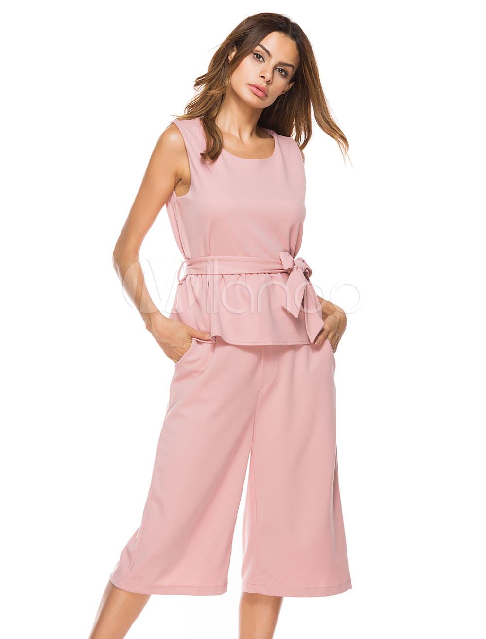 Women Pants Set Sleeveless Sash Pink Summer Top With Wide Leg Pants