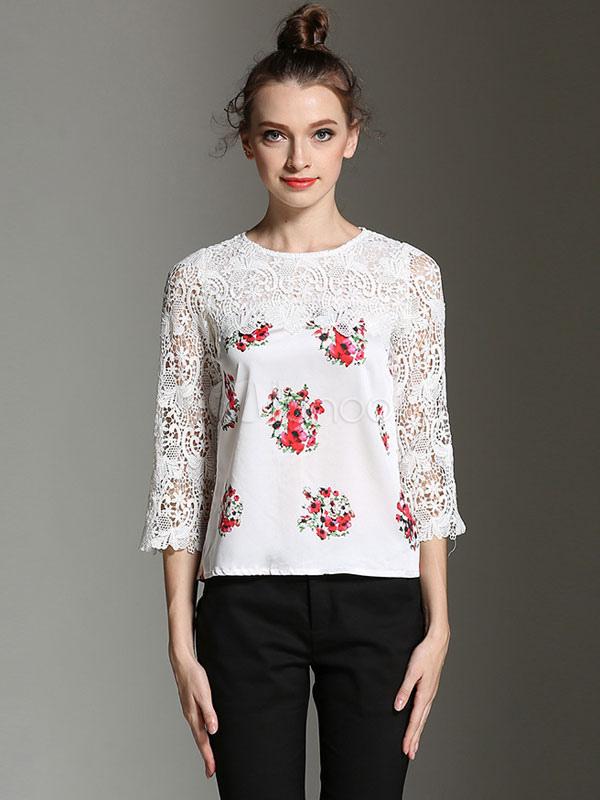 Women White Blouses Lace Floral Print Round Neck Split Chiffon Top
