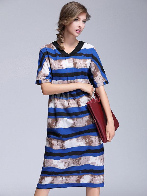 Buy Summer Shift Dress V Neck Short Sleeve Striped Blue Midi Dress for $33.24 in Milanoo store