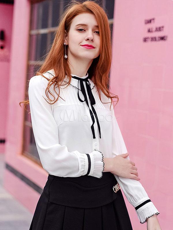 2aa3706d6e5 ... Белые шифоновые блузки с длинным рукавом Crewneck Women Casual Top-No.2  ...