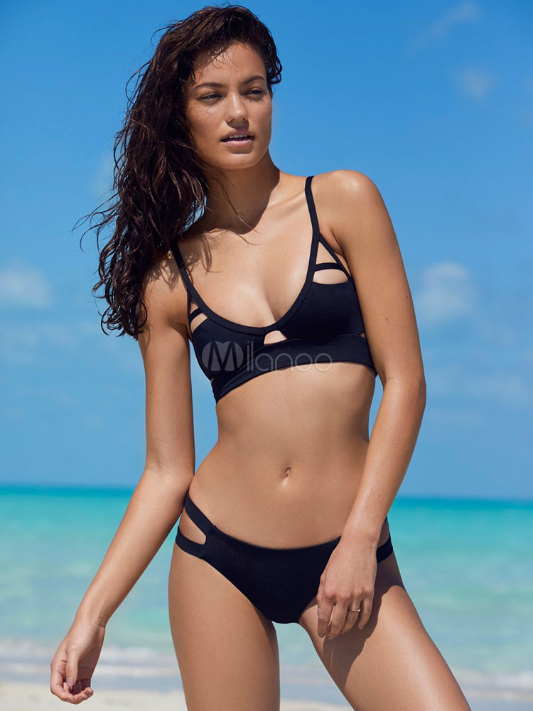 Black Bikini Swimsuit Sleeveless Cut Out Sexy Beach Wear For Women