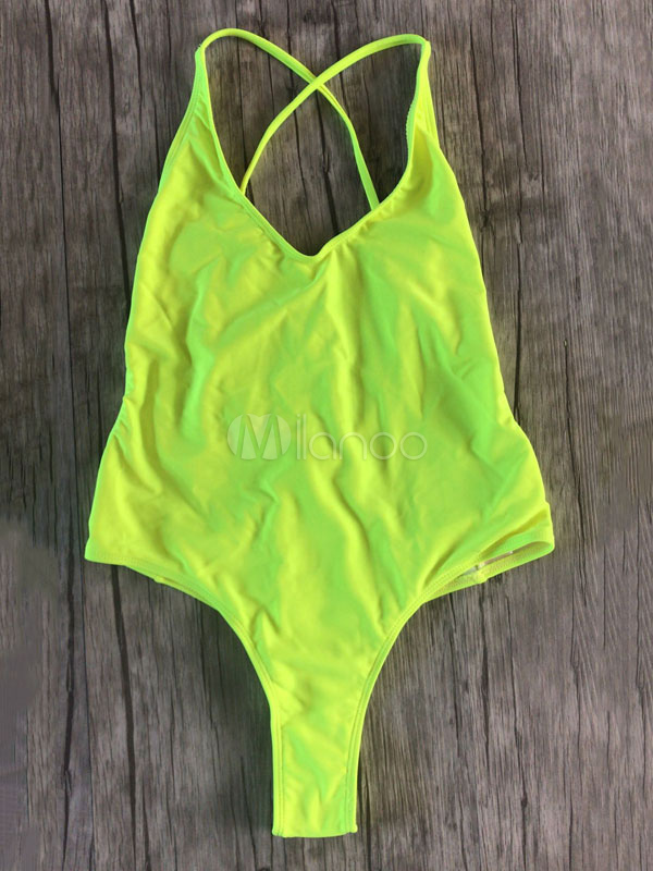 One Piece Bathing Suit V Neck Backless Straps Sexy Neon