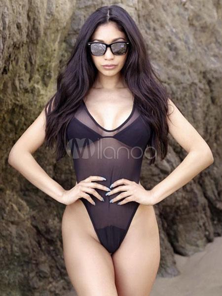 Women Sexy Swimsuit Black U Neck Sleeveless Sheer Beachwear