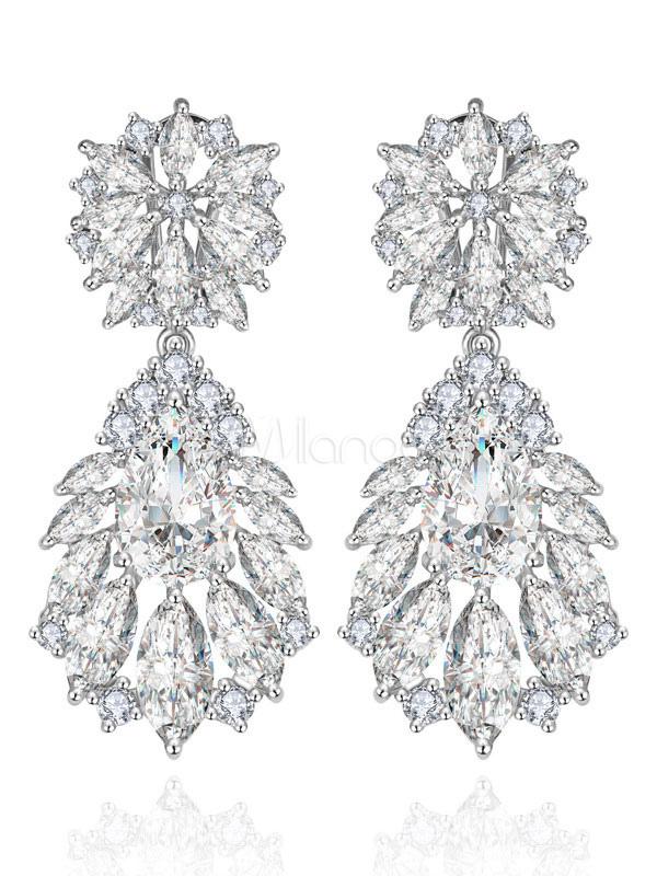 Wedding Earrings Silver Drop Earrings Cubic Zirconia Evening Party Bridal Jewelry