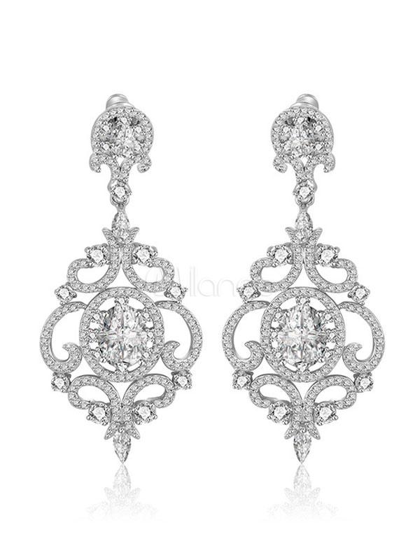 Buy Silver Wedding Earrings Cubic Zirconia Evening Drop Earrings Bridal Jewelry for $28.82 in Milanoo store
