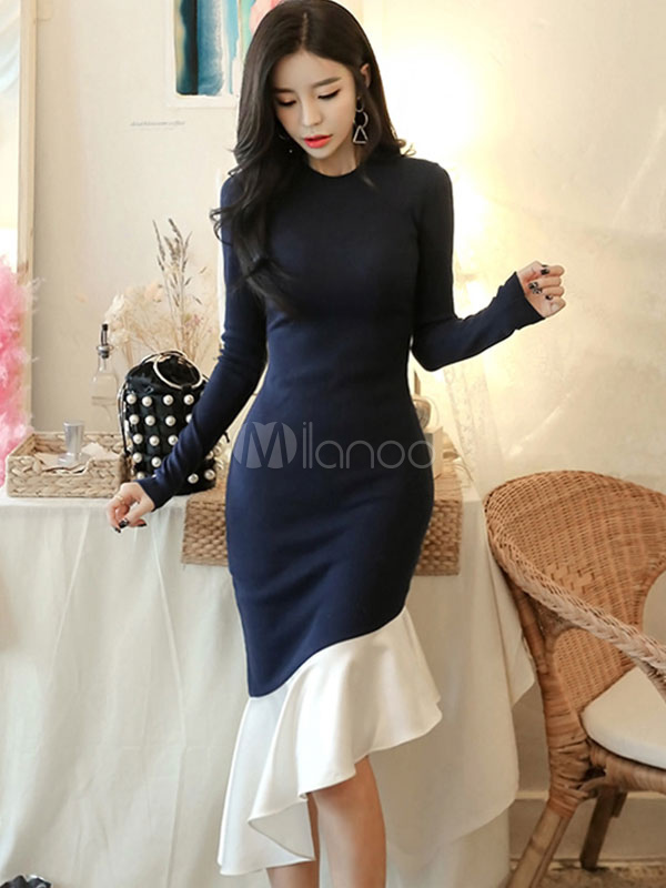 Women Bodycon Dress Long Sleeve Ruffles Two Tone Shaping Midi Dress
