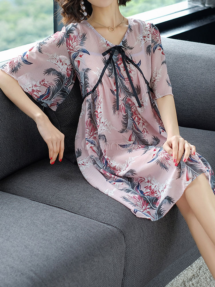 Buy Chiffon Shift Dress Half Sleeve V Neck Printed Summer Dress Two Piece Dress Set for $30.59 in Milanoo store