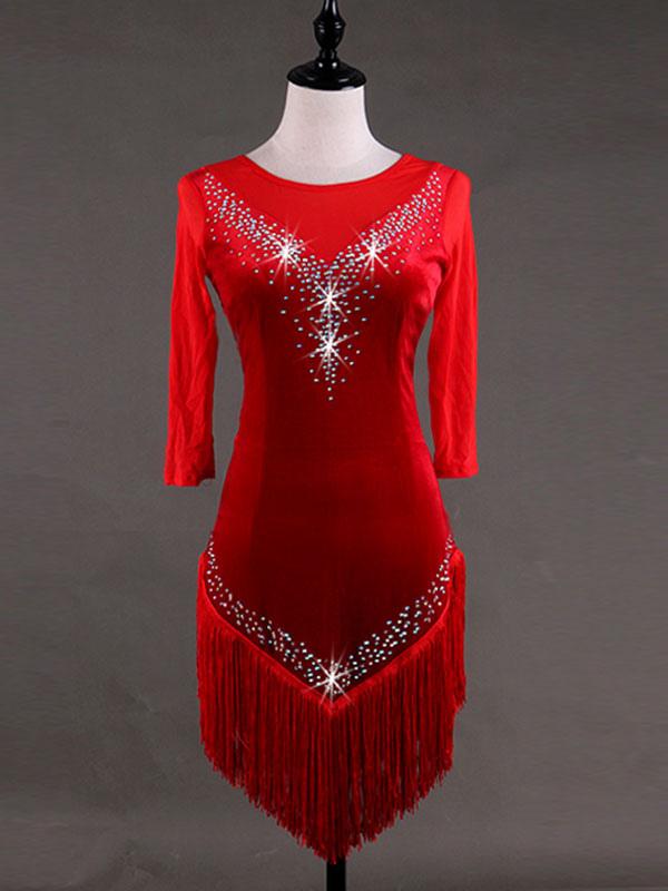 891fe5b539dc Costume da ballo latino americano per adulti lycra spandex rosso interpretazione  abito monocolore -No.