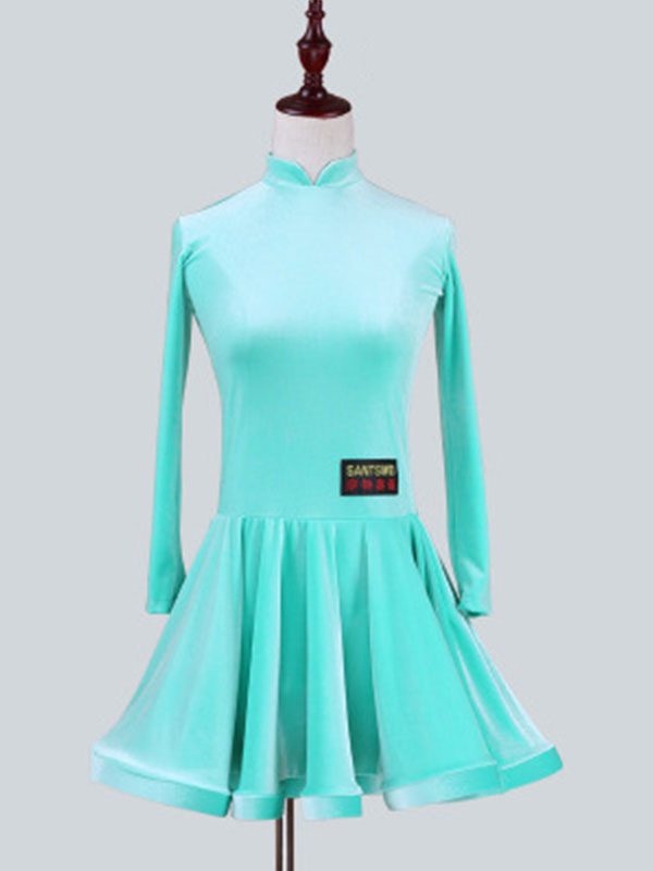 new specials recognized brands classic shoes Latin Dance Costume Kids Velvet Long Sleeve Stand Collar Mint ...