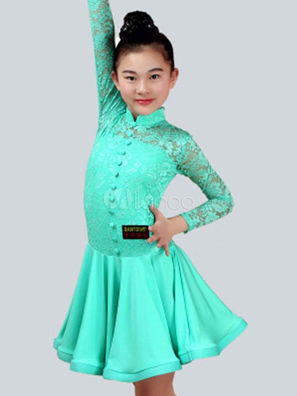 7bc03e5e1d9c Latin Dance Costume Kids Mint Green Lace Long Sleeve Girls Ballroom Dance  Dresses-No.