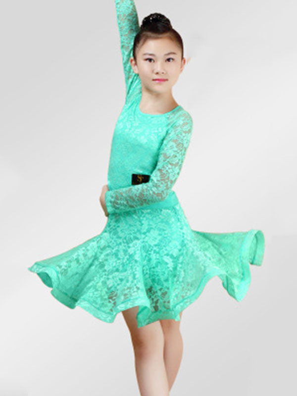 86beba92a322f Latin Dance Dresses Costume Red Kids Lace Long Sleeve Ballroom Dance  Costumes For Girls-No ...