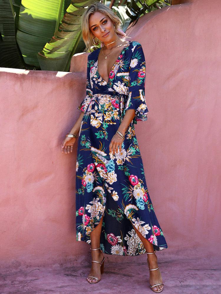 10cd6eeb2516 ... Vestido 2019 longo floral com estampa floral Vestido longo de verão com estampa  floral-No ...