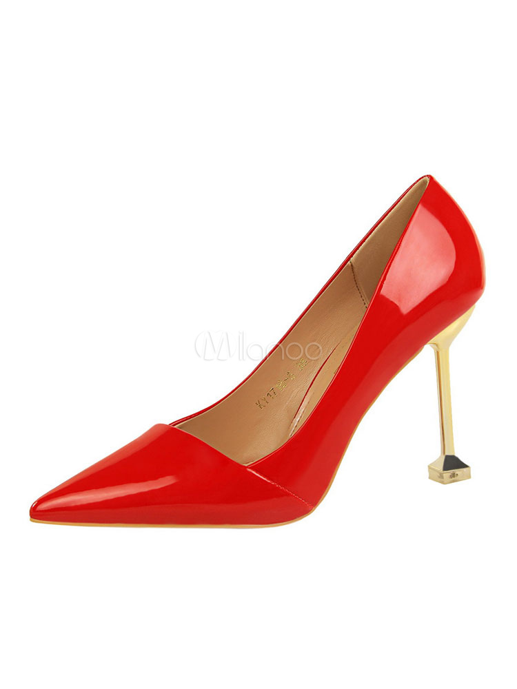 Buy Red High Heels Pointed Toe Slip On Pumps Women Dress Shoes for $38.24 in Milanoo store