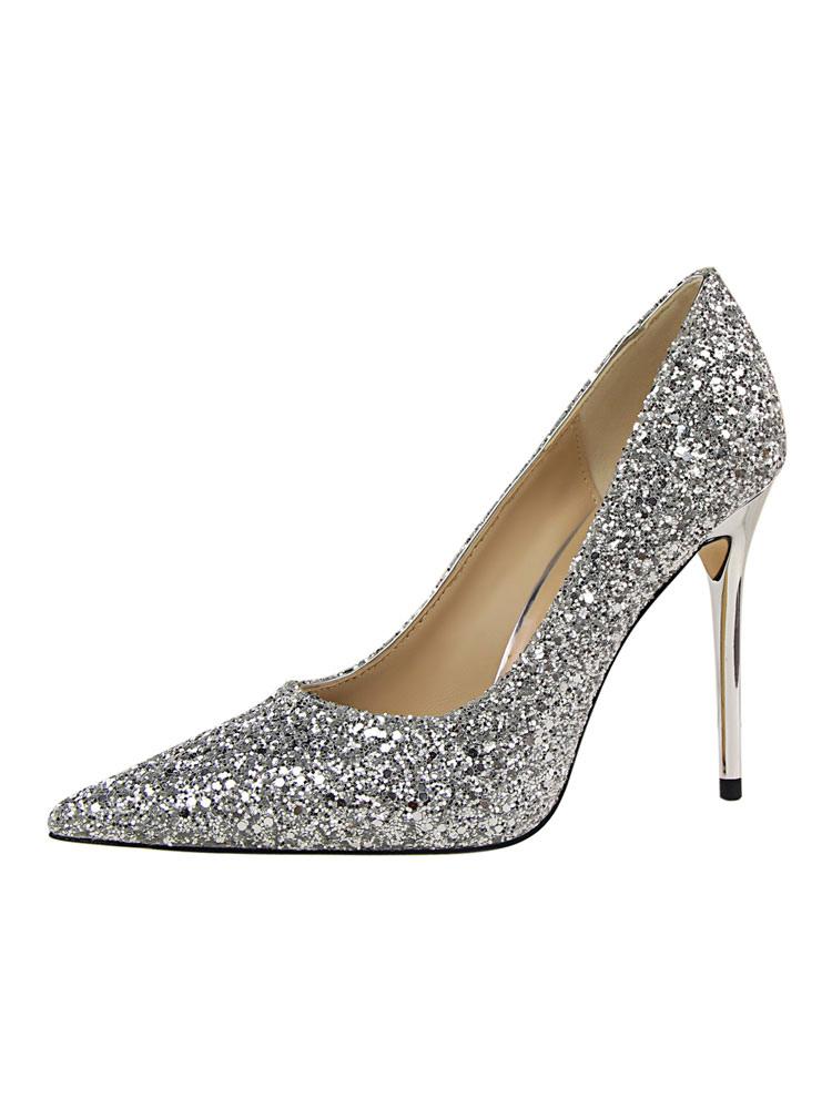 Zapatos de novia Zapatos de tacón alto de tacón de stiletto de puntera puntiaguada de tela brillante elegantes nvqdK4