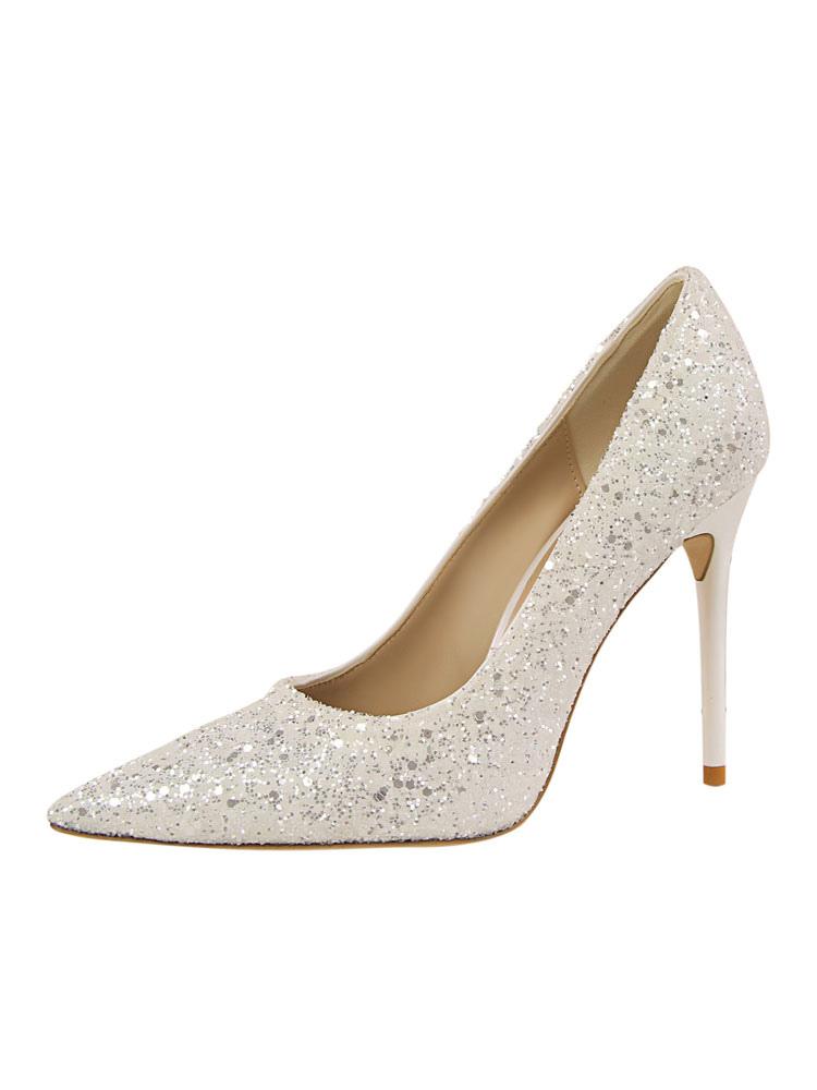 Zapatos de novia Zapatos de tacón alto de tacón de stiletto de puntera puntiaguada de tela brillante de lujo lga4F