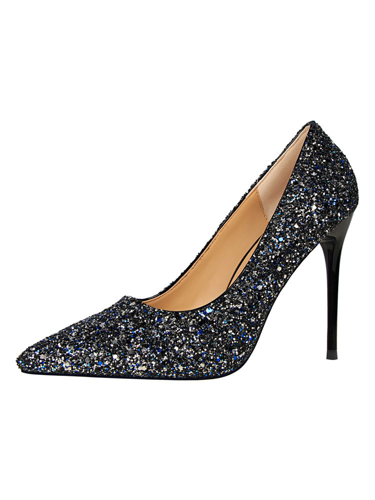 Zapatos de novia Zapatos de tacón alto de tacón de stiletto de puntera puntiaguada de tela brillante elegantes VXEG8mICUF