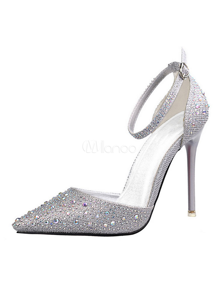 269ec077a9c Silver High Heels Women Pointed Toe Rhinestones Ankle Strap Pumps-No.1 ...