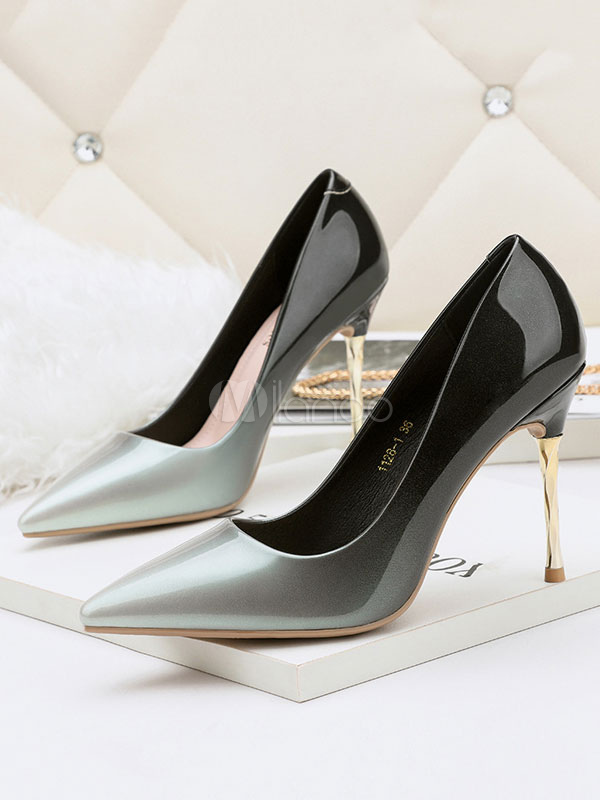 Buy Women High Heels Silver Pointed Toe Slip On Pumps Ombre Dress Shoes for $38.24 in Milanoo store