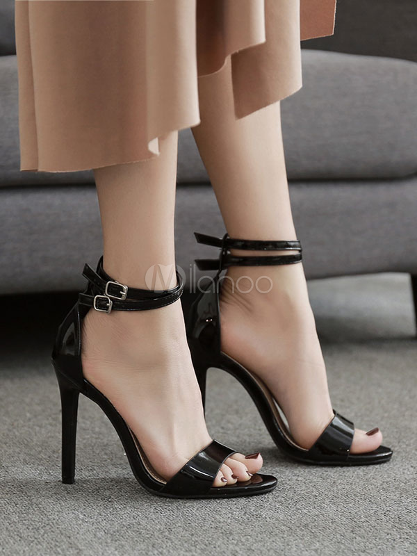 Buy Women Black Sandals High Heel Sandals Open Toe Buckle Detail Ankle Strap Sandal Shoes for $40.49 in Milanoo store