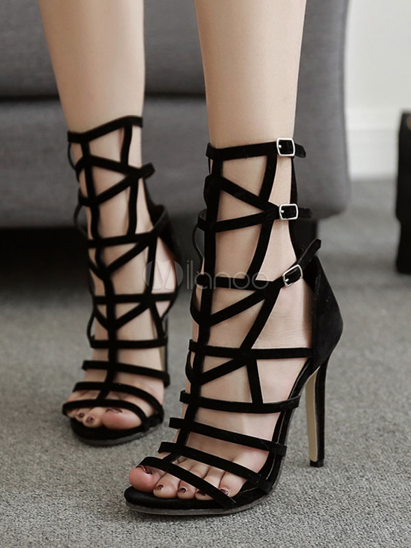 Buy Black Gladiator Sandals High Heel Sandals Open Toe Cut Out Stiletto Sandal Shoes for $38.24 in Milanoo store