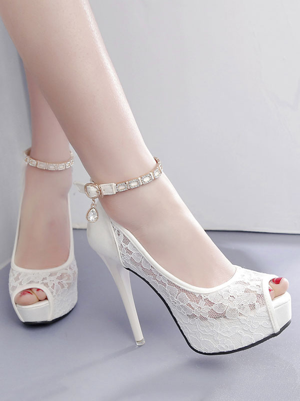 Buy White High Heels Lace Platform Peep Toe Rhinestones Ankle Strap Pumps for $31.49 in Milanoo store