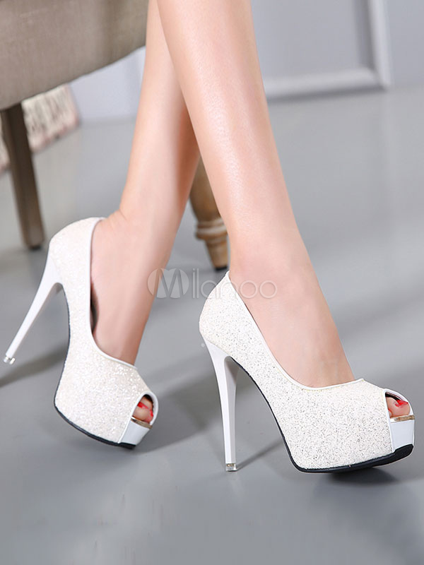 White High Heels Peep Toe Platform Slip On Pumps Sequin Evening Shoes For Women