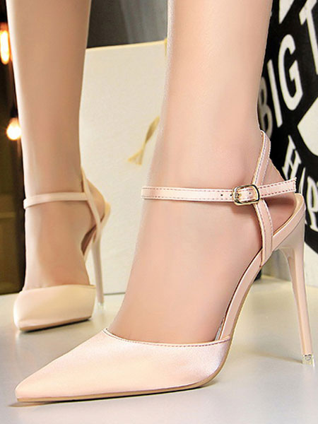Buy Pink High Heels Satin Pointed Toe Buckle Detail Pumps Women Evening Shoes for $38.24 in Milanoo store