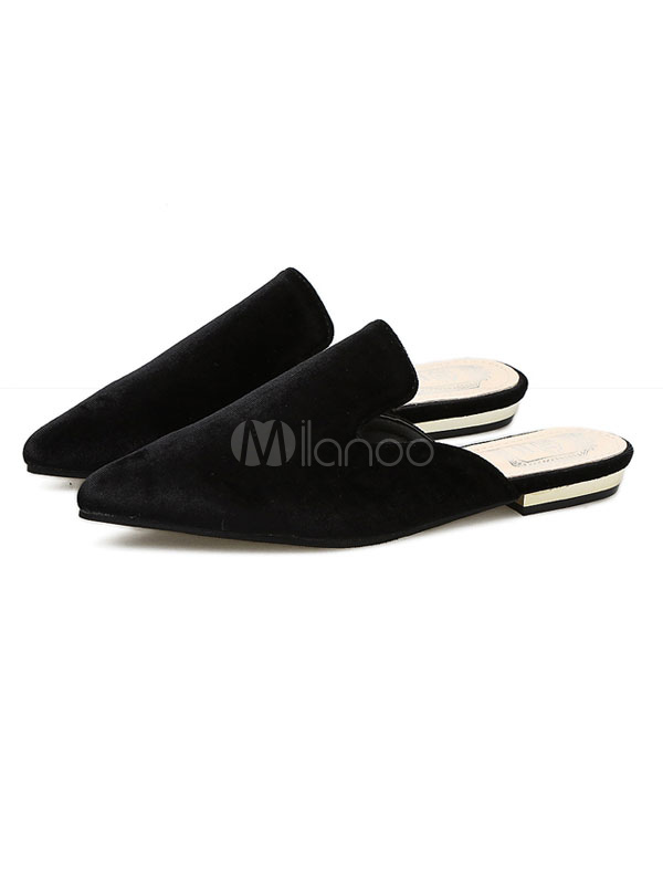 ecd95dadb3ad7 Black Mule Loafers Pointed Toe Slip On Backless Flat Shoes Women Mules