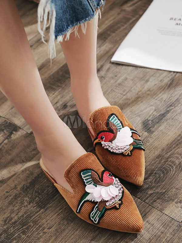 Buy Brown Mule Loafers Pointed Toe Rhinestones Embroidered Mules Backless Flat Shoes for $38.24 in Milanoo store