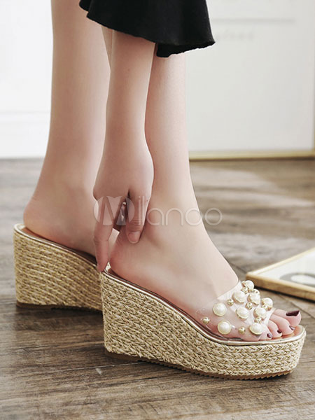 06d3f08735 ... Silver Sandal Slippers Platform Open Toe Pearls Backless Wedge Sandals -No.4