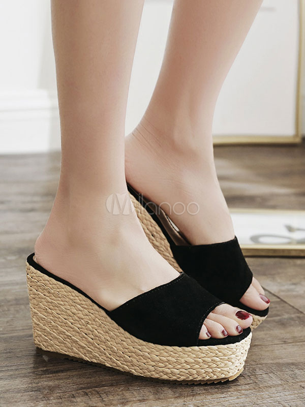 7d114a5170 Black Sandal Slippers Suede Open Toe Backless Wedge Sandals Women Shoes-No.1  ...