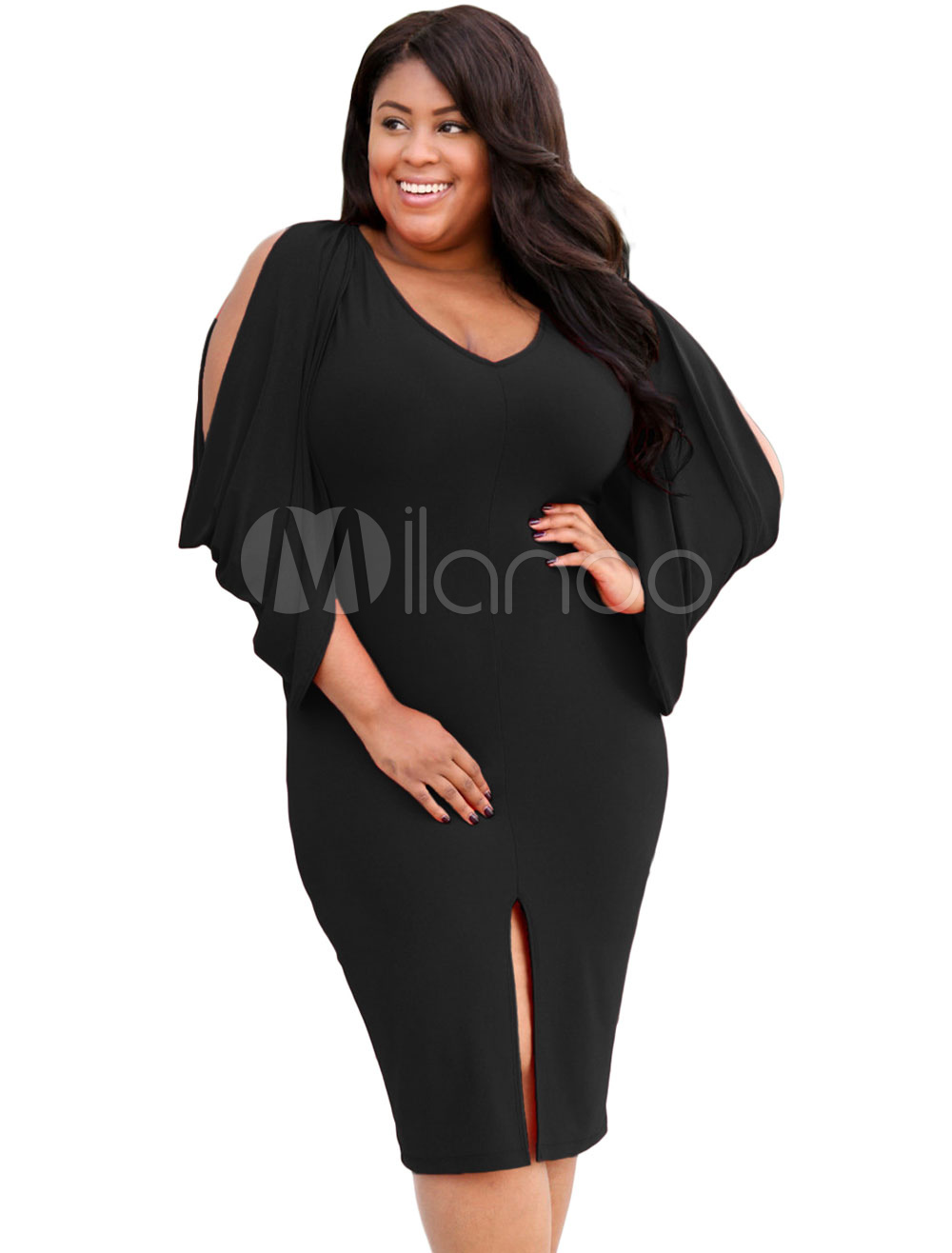 Plus Size Bodycon Dress Black V Neck Cold Shoulder Cut Out Sexy Mini Dress